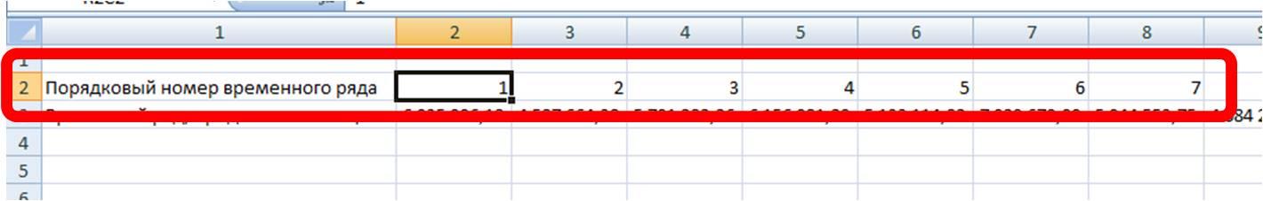 номер временного ряда для полинома