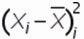 квадрат разницы отклонений