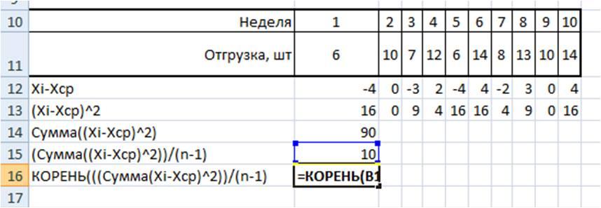 среднее квадратическое отклонение в Excel